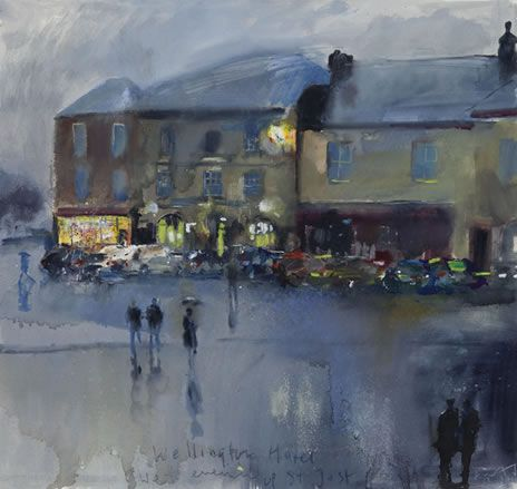 Kurt Jackson - Wellington Inn. Wet Evening Up St Just. November 2011.