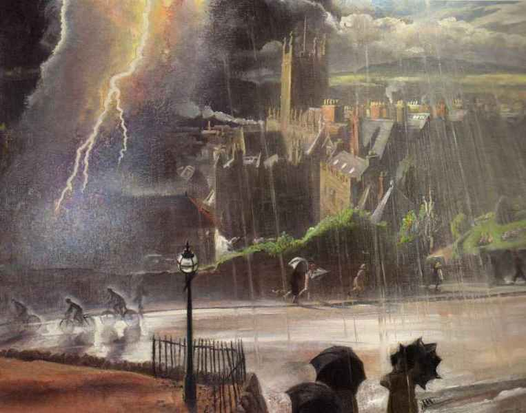 Laura Knight - Storm over our town, Malvern