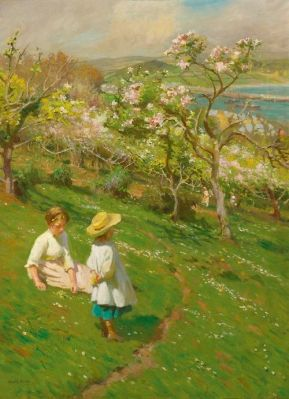 Spring in the Garden by Harold Harvey (1874 - 1941)