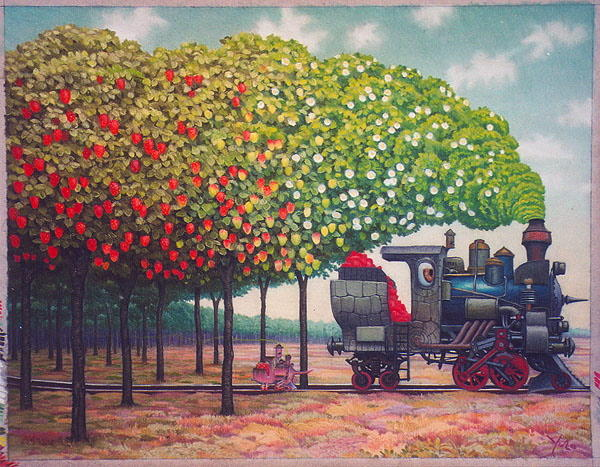 Jacek-Yerka-Strawberries-railway